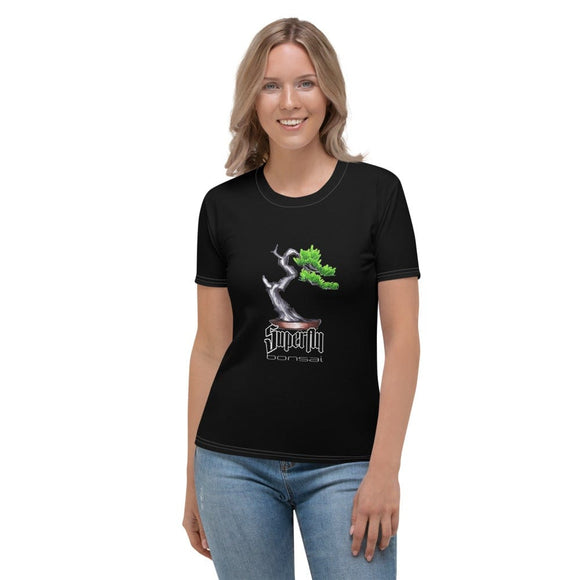 XS Superfly Bonsai Brian Soldano Artwork Front - Stick Figure Family Back - Women's T-shirt