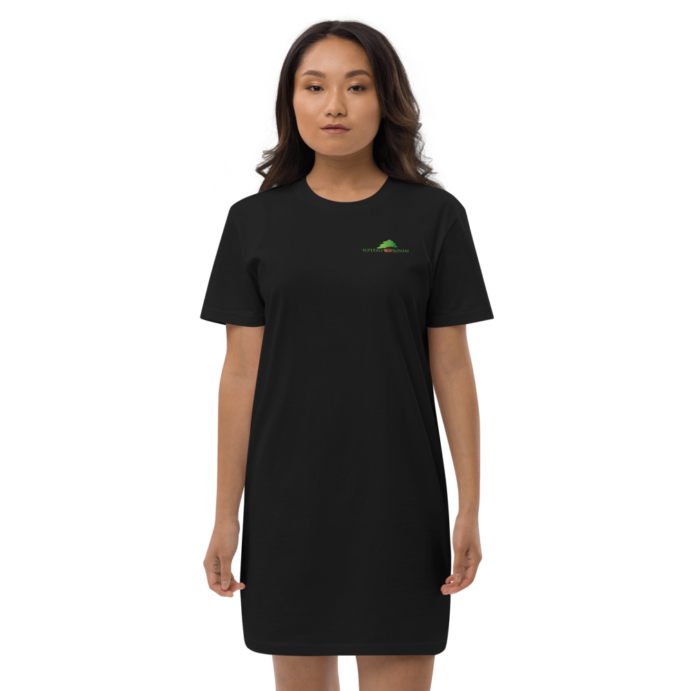 Black / XS Organic cotton t-shirt dress with Superfly Bonsai Logo