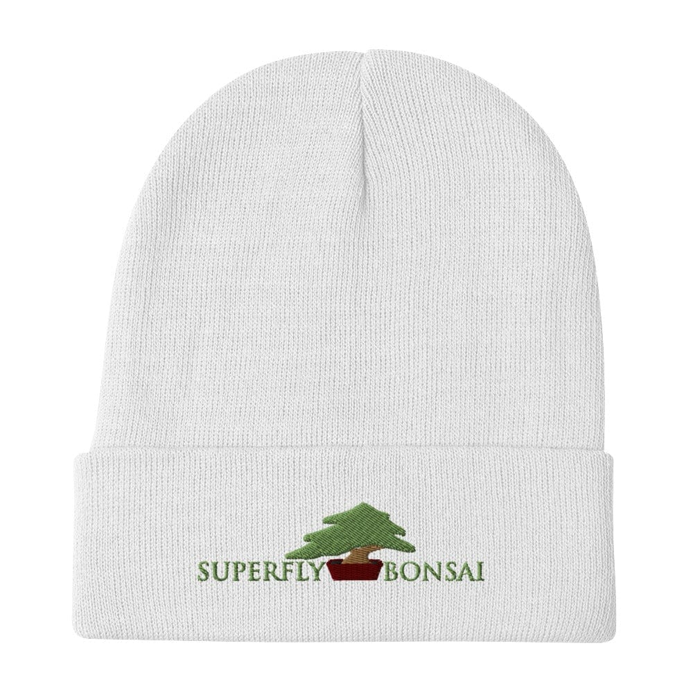 White Superfly Bonsai Logo Embroidered Beanie Hat