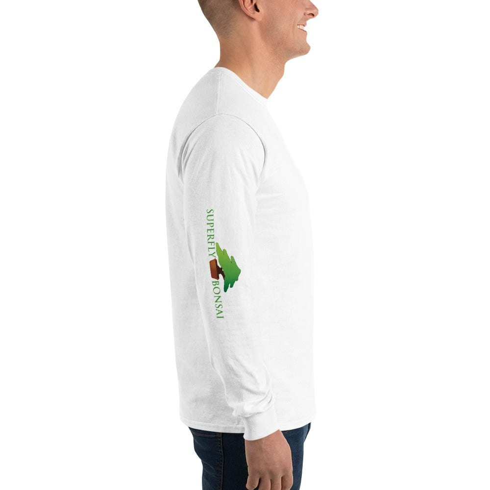 White / S Superfly Bonsai Logo (on right sleeve) Men's Long Sleeve Shirt