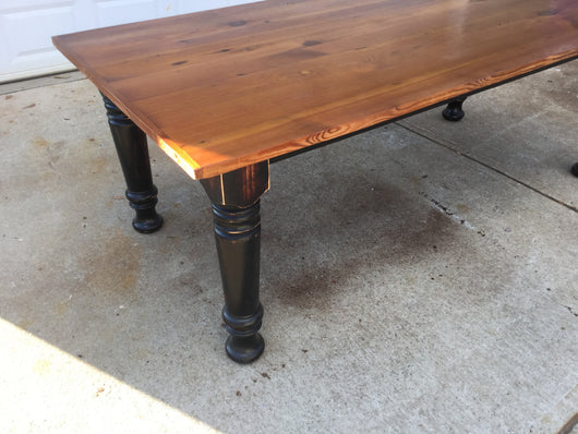 Country dining table with turned legs