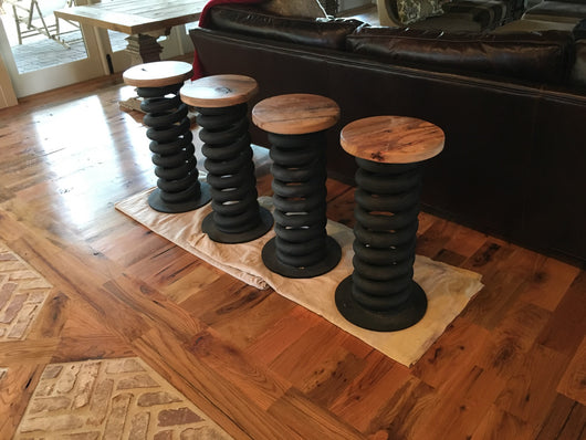 Coil spring bar stool / counter height stool from military truck coil spring