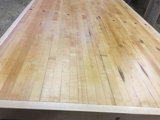Reclaimed bowling lane dining table
