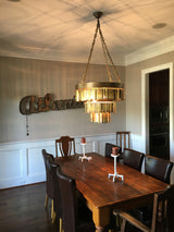 Antique brass tag chandelier