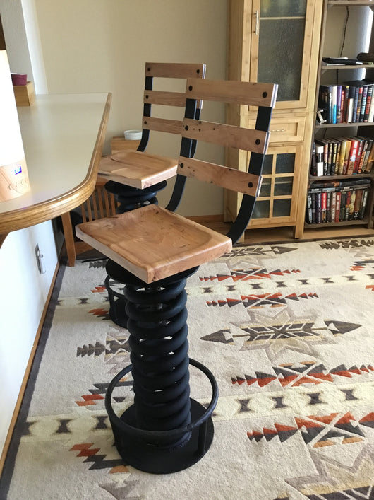 ... Coil Spring Bar Stool / Counter Height Stool From Military Truck Coil  Spring ...