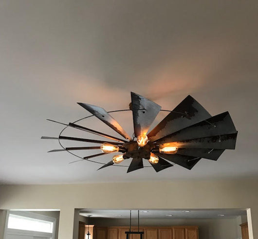 Rustic windmill chandelier