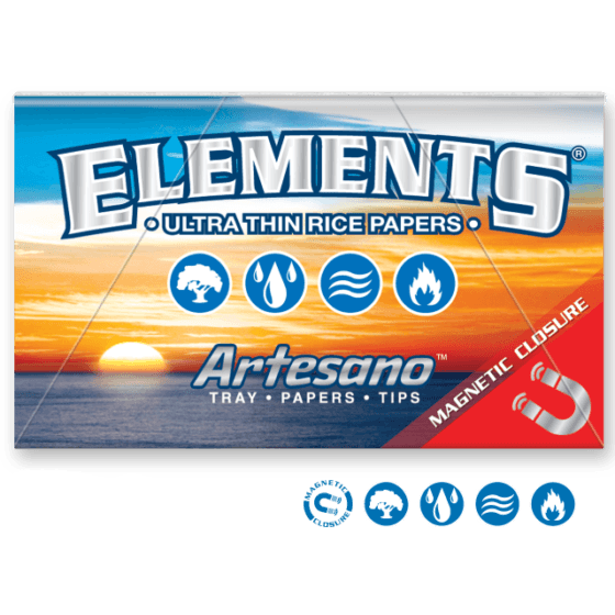 ELEMENTS Rolling Papers Elements 1¼ Artesano Rolling Papers 1 1/4 w/ Tray and Tips