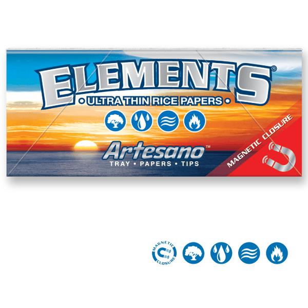 ELEMENTS Rolling Papers Elements King Size Slim 110mm Artesano Rolling Papers w/ Tray and Tips