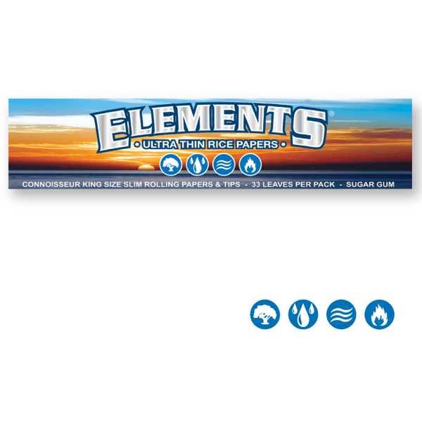 ELEMENTS Rolling Papers Elements King Size Slim 110mm Connoisseur Rolling Papers w/ Tips