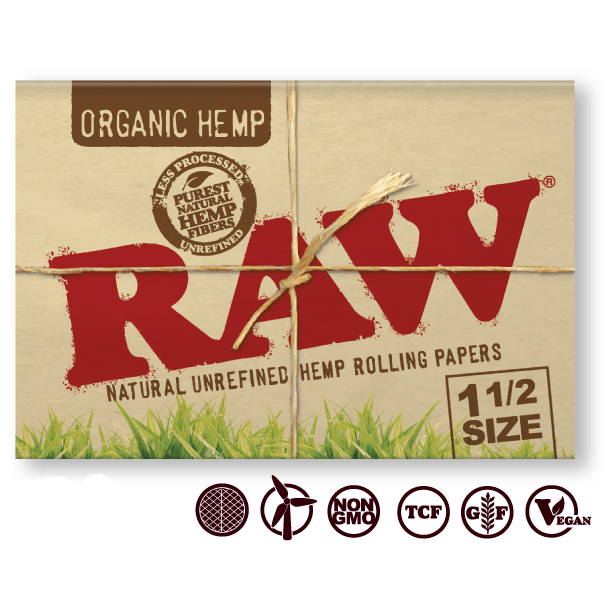 RAW Rolling Papers Raw Organic Hemp 1½ Rolling Papers