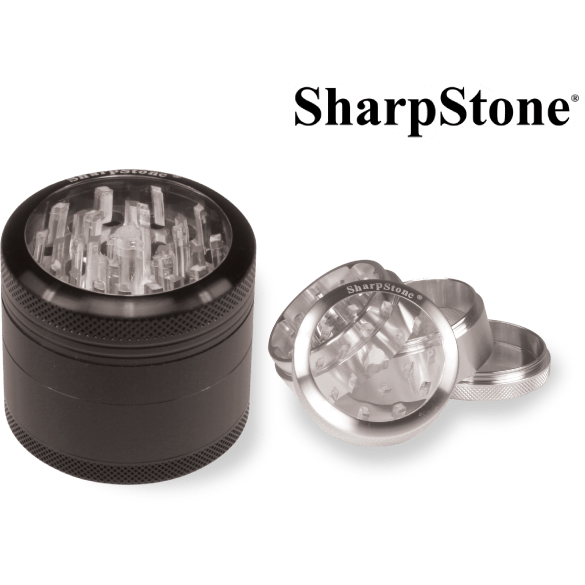 Sharpstone Grinder BLACK SHARPSTONE™ 4 PIECES GLASS TOP GRINDER POLLINATOR 2.5″