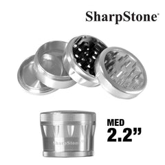 Sharpstone Grinder SILVER Sharpstone 4 Pieces Glass Top Grinder 2.2'' V2