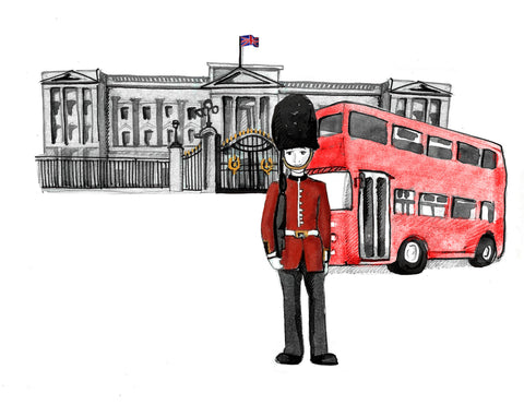 Explorerhop.com Mira & Teyus Adventures in London.  Buckingham Palace. Palace Guard. Red London Double Decker Bus.