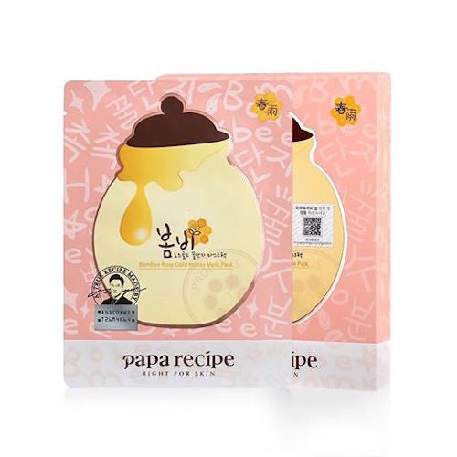 Papa Recipe Bombee Rose Gold Honey Mask Pack 25g x 5|Papa Recipe 春雨玫瑰24K黄金蜂蜜面膜 单盒5片入