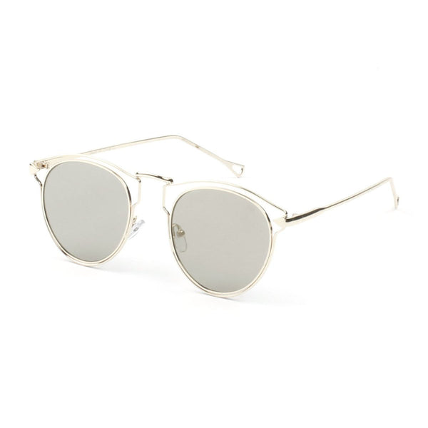 Trendy Round Cut Out Browline Sunglasses Unisex|透明款眉框太阳镜 男女通用