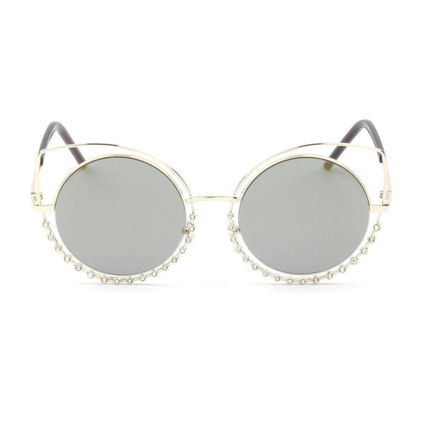 Pearl-Studded Cut-Out Cat Eye Sunglasses Unisex|猫眼铆钉太阳镜 男女通用