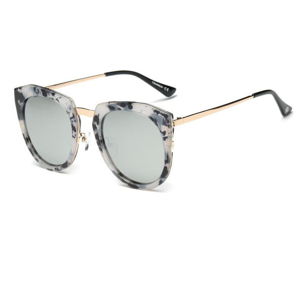 Mirrored Polarized Lens Oversize Cat Eye Sunglasses Unisex|大理石花纹猫眼偏光太阳镜 男女通用
