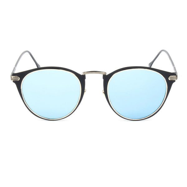 Round Mirrored Lens Sunglasses W/ Embedded Hinge Unisex|金边镜面圆形太阳镜 男女通用