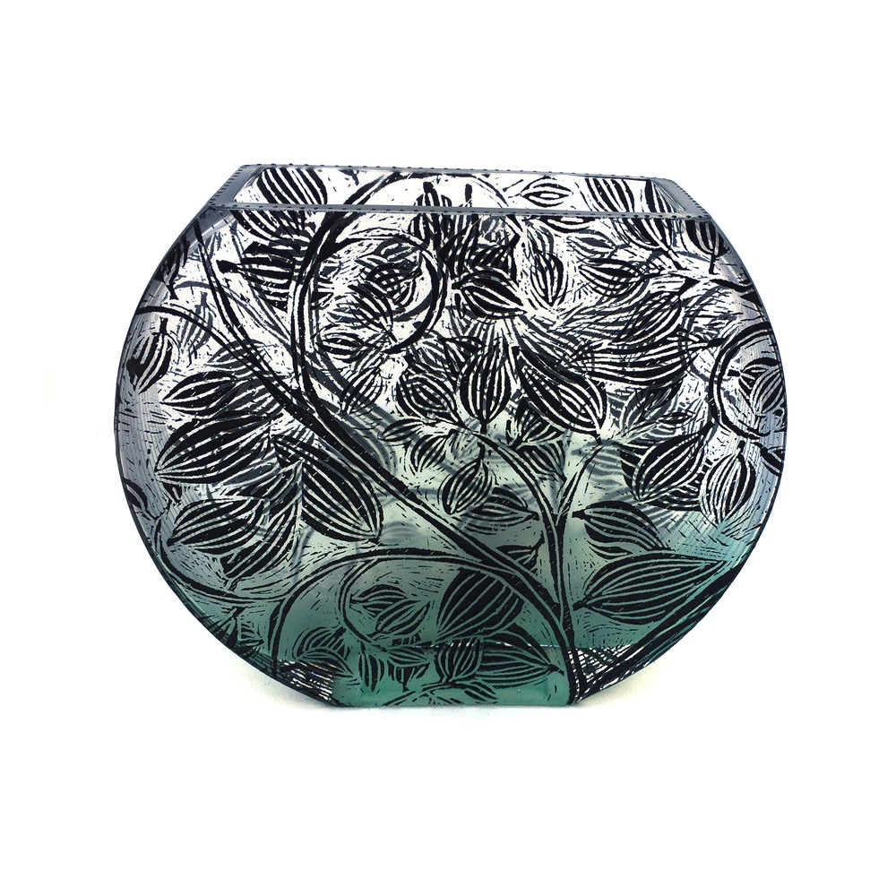 Large Flat Fishbowl Vase- Vine Leaf