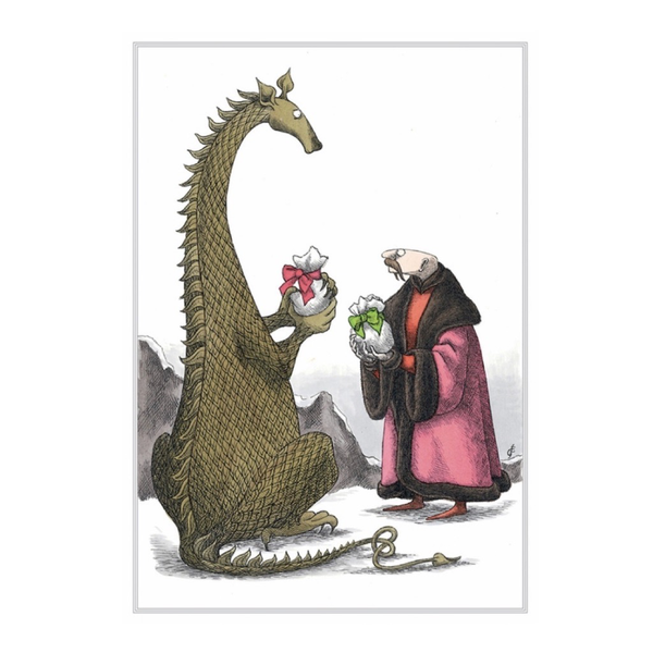 Dragon & Man Exchange Gifts Boxed Holiday Cards