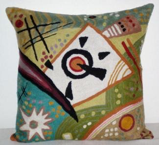 Natural Habitat: Chainstitch pillow, Kandinsky #7