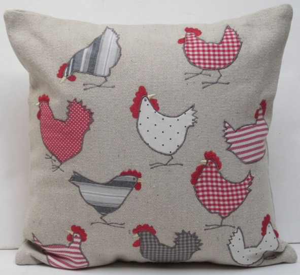 Applique Pillow: Checkered Chicken
