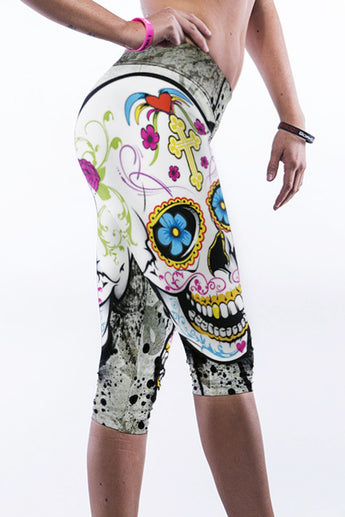 Three Quarter Knee Length Skull Leggings