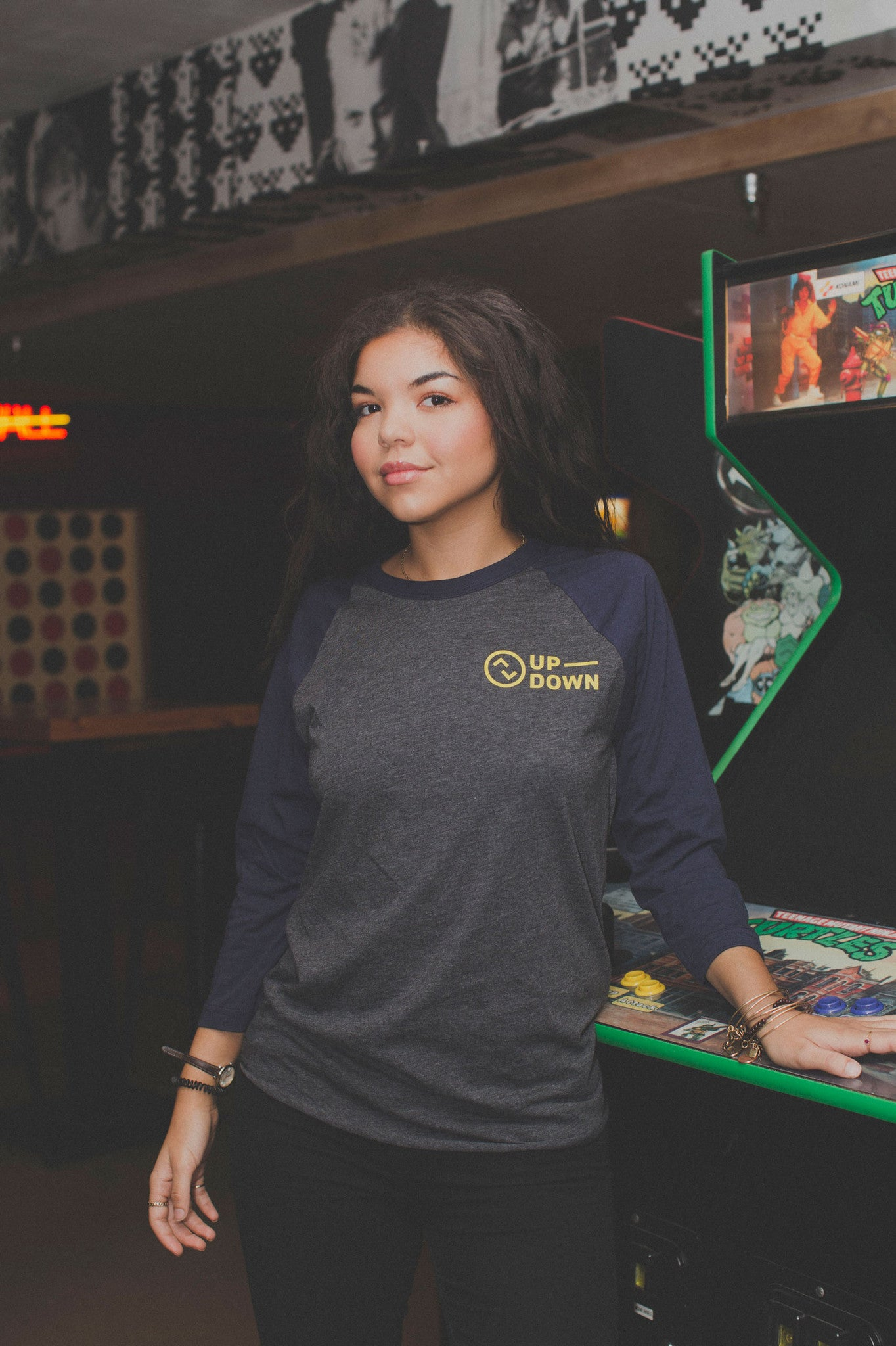 updown arcade bar baseball tee in navy/grey/yellow