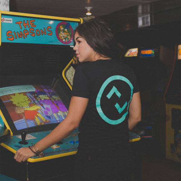 updown arcade bar logo tee solid black