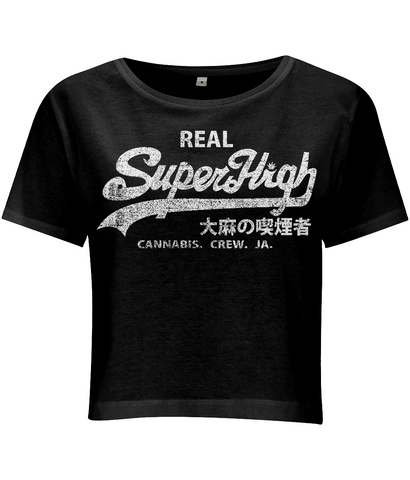 'Superhigh' Women's Cropped Marijuana T-shirt - Couture 420 - Marijuana Themed Clothing - Crop T Shirts