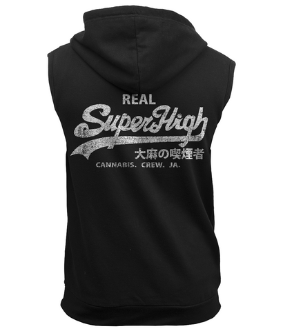 'Superhigh' Sleeveless Marijuana Zoodie - Couture 420 - Marijuana Themed Clothing - Hoodies