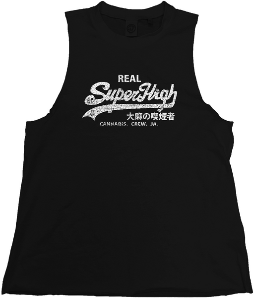 'Superhigh' Men's High Neck Slash Armhole Tank - Couture 420 - Marijuana Themed Clothing - Mens Tanks