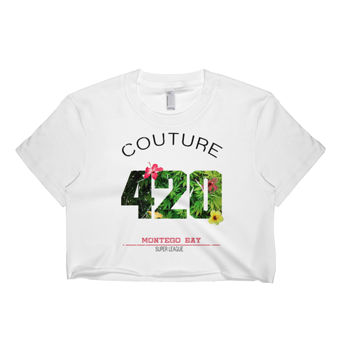 Womens '420 Super League'  Cropped Marijuana Tee - Couture 420 - Marijuana Themed Clothing - Crop T Shirts