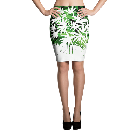 '420 Days' Exclusive Marijuana Themed Bodycon Pencil Skirt