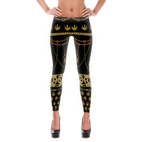 'Dope Chains' All Over Print Marijuana Leggings - Couture 420 - Marijuana Themed Clothing - Leggings