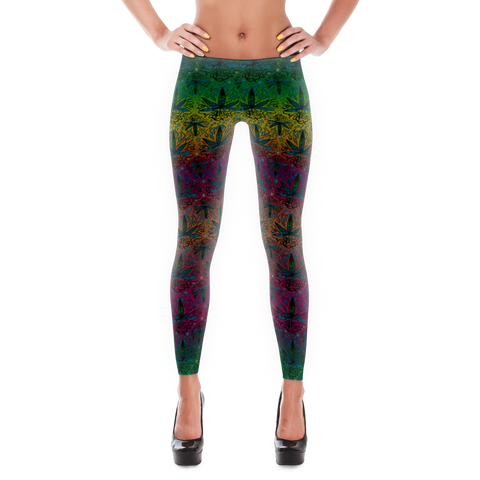 'Ganja Sunset' All Over Print Marijuana Leggings - Couture 420 - Marijuana Themed Clothing - Leggings