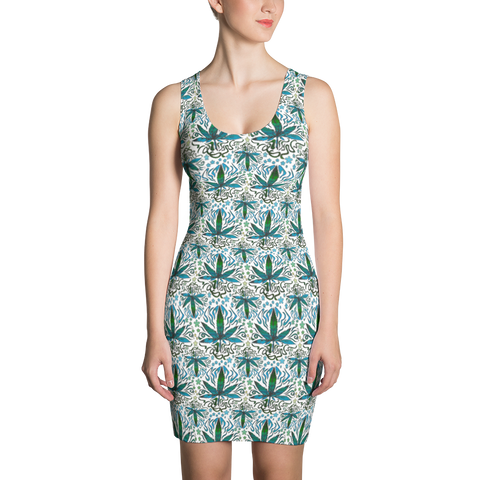 'Flower Power' All Over Print Bodycon Dress - Couture 420 - Marijuana Themed Clothing - Dresses