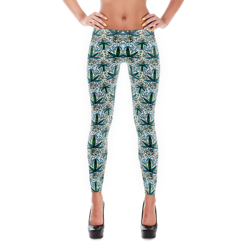 'Flower Power' All Over Print Marijuana Leggings - Couture 420 - Marijuana Themed Clothing - Leggings