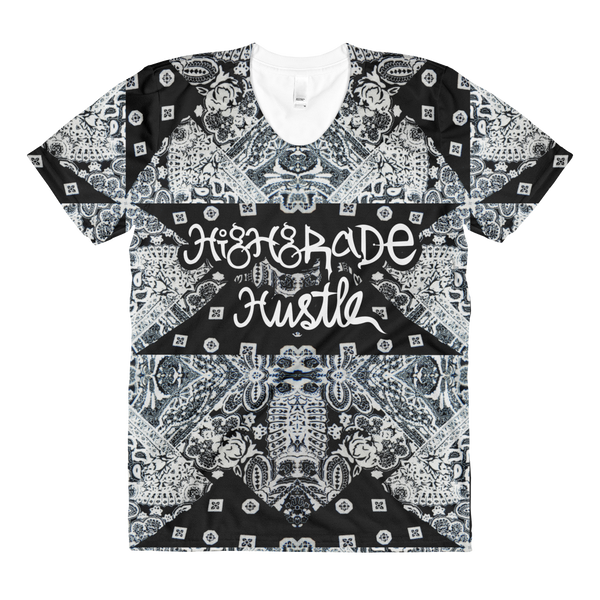 Womens 'Highgrade Hustle' All-Over Print Marijuana Tee - Couture 420 - Marijuana Themed Clothing - Womens T Shirts