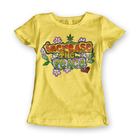 Womens 'Increase the Peace' Hippie Style Marijuana Tee - Couture 420 - Marijuana Themed Clothing - Womens T Shirts