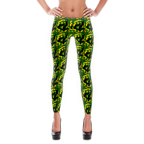 'JA Crazy' All Over Print Marijuana Leggings - Couture 420 - Marijuana Themed Clothing - Leggings