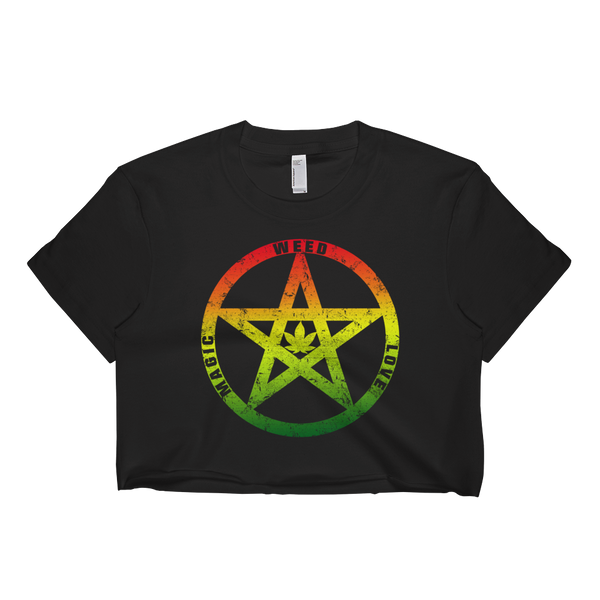 Womens 'Weed Love Magic' Cropped Marijuana Tee - Couture 420 - Marijuana Themed Clothing - Crop T Shirts