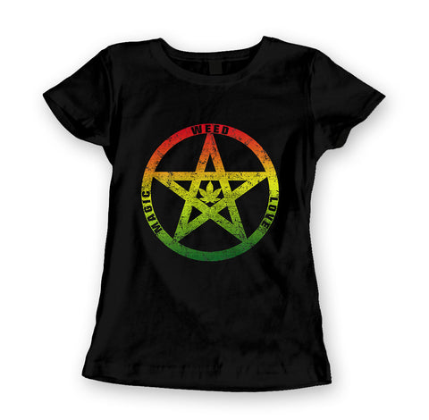 Womens 'Weed Love Magic' Marijuana Hippie Tee - Couture 420 - Marijuana Themed Clothing - Womens T Shirts