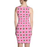 'Hearts & Flowers' All Over Print Bodycon Dress - Couture 420 - Marijuana Themed Clothing - Dresses