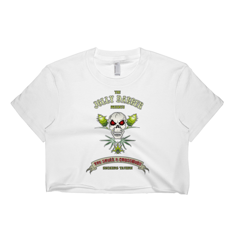 Womens 'Jolly Dabber' Cropped Marijuana Pirate Tee - Couture 420 - Marijuana Themed Clothing - Crop T Shirts