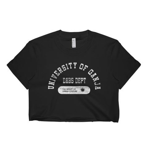 Womens 'Ganja University' Cropped College Style Tee - Couture 420 - Marijuana Themed Clothing - Crop T Shirts
