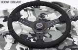 GReddy Boost Brigade Black Suede Steering Wheel (340mm) [16500205] - Syndicate Auto Salon