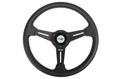 GReddy GPP Black Leather Steering Wheel (340mm) [16500201] - Syndicate Auto Salon