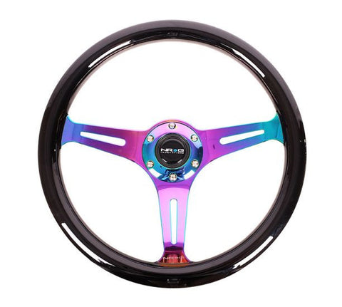 NRG Steering Wheel: Classic 350mm Wood Grain (Black w/ Neochrome) [ST-015MC-BK] - Syndicate Auto Salon