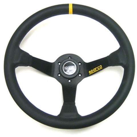 Sparco 325 Competition Steering Wheel - Black Leather, 350mm - Syndicate Auto Salon